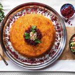 Shirazi Polo ( chicken & eggplant Tahchin)