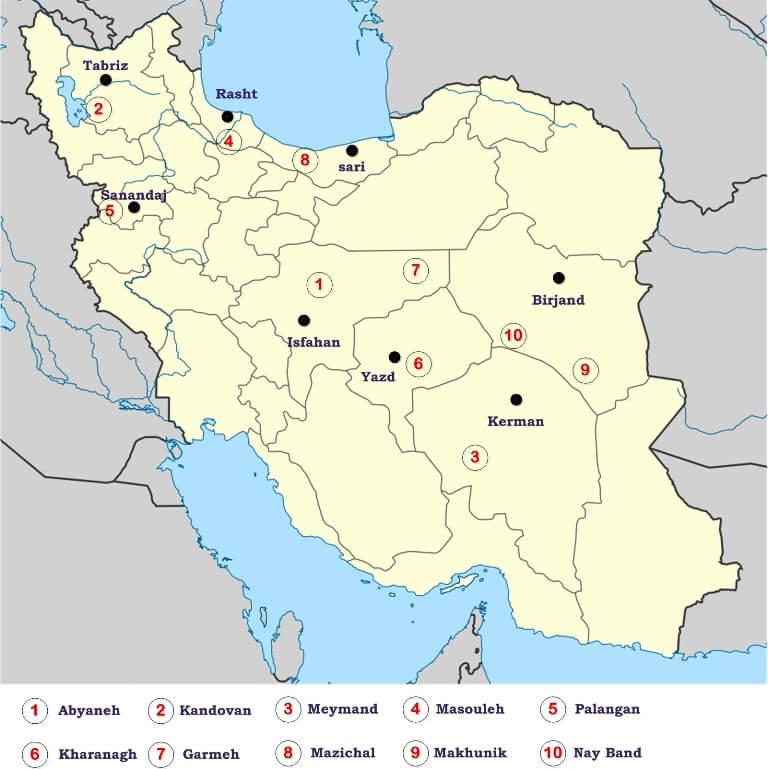 Best Villages in Iran on Map