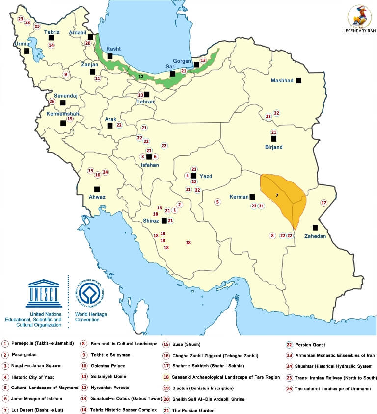 Iran UNESCO World Heritage Sites on Map