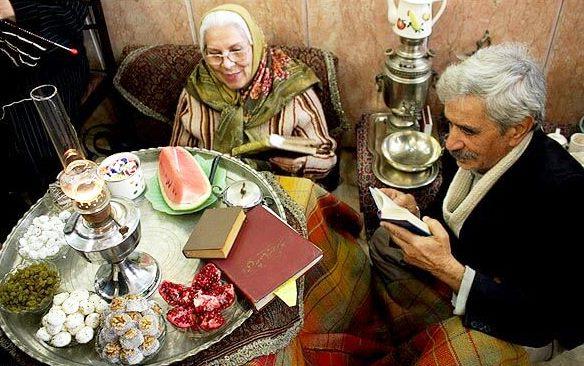 Reading Shahnameh on Yalda Night Gathering