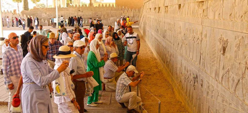 Tourists with Iran Guide Tour in Persepolis