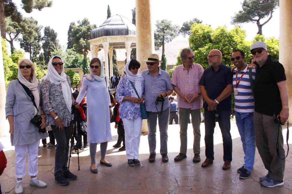 Tourists in Tomb of Hafez