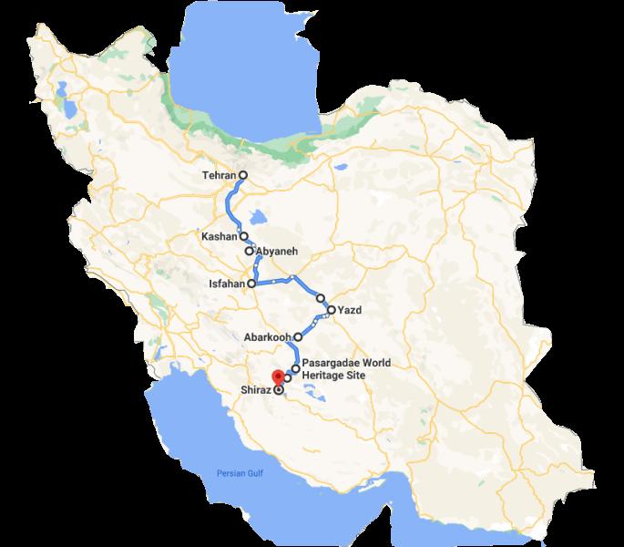 Iran Classic Route Map