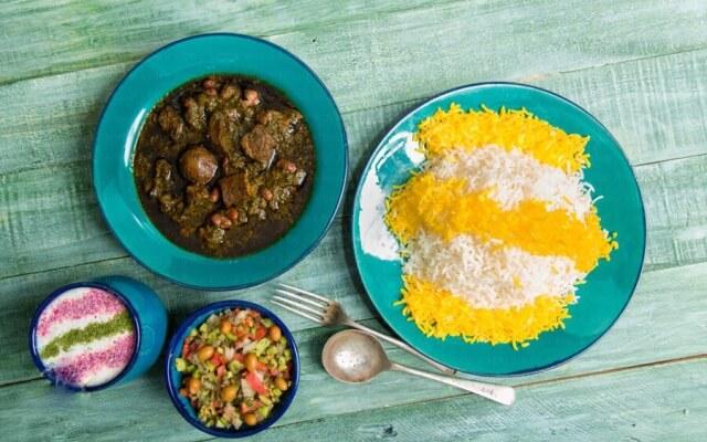 Ghormeh Sabzi with Rice
